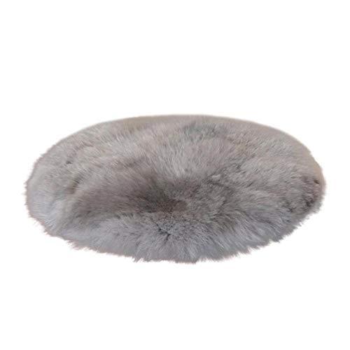 CVMFE Gemütliches Bettvorleger Weicher Künstlicher Schaffell-Teppich Stuhlbezug Schlafzimmermatte Künstliche Wolle Warmer Haariger Teppich Sitz Wolle Warme Textilpelz Teppiche 30-Grau_30X30Cm