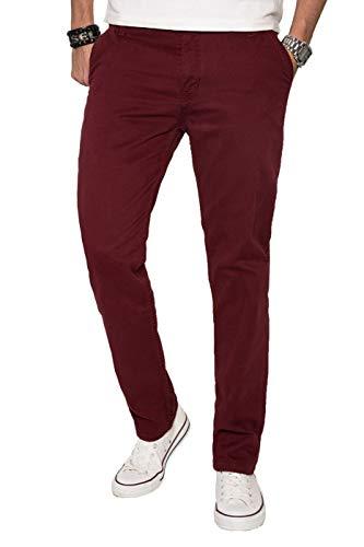 A. Salvarini Herren Designer Chino Stoff Hose Chinohose Regular Fit AS016 AS-016-Bordeaux-W33-L34