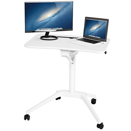 MELLCOM Adjustable Height Laptop Desk Stand Desk Steady Multifunctional Mobile Podium Portable Sit to Stand Lectern with Pneumatic Height Adjustments and Wheels Ergonomic Design Laptop Stand