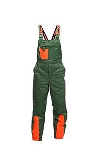 Pantalón de protección contra astillado WOODSafe clase 1, pantalón de bosque aprobado por KWF, peto verde / naranja, hombre. Pantalón forestal talla 52.