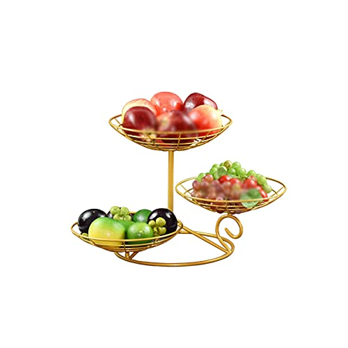 XZBXGZWY Fruit Holder Grape Tomatoes Banana Holder Stand 3 Tier Metal Fruit Basket Storage Basket Fruit Tray Fruit Bowls Serving Trays (Color : Gold)