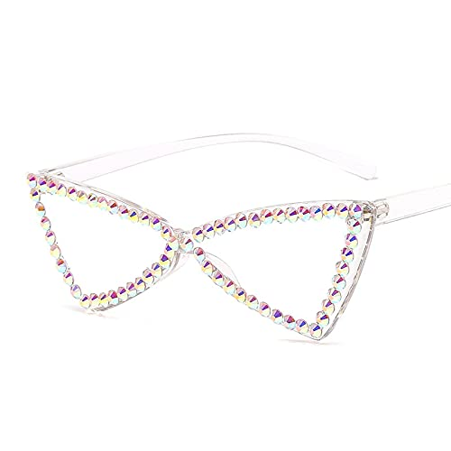 XINMAN Gafas Sin Montura Triangulares Retro Tendencia Gafas De Sol De Diamantes De Imitación Moda para Mujer Gafas De Sol De Ojo De Gato Color Transparente