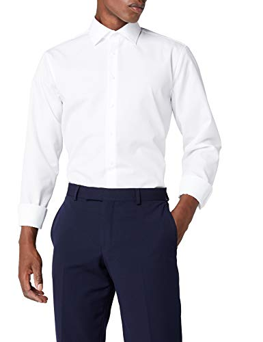 Seidensticker Herren Tailored Fit Businesshemd, Weiß (Weiß 1), 43