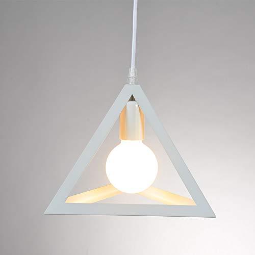 Colgante Iluminación Lámparas de Techo Industrial Colgante de Luz, diseño geométrico E27, lámpara colgante con Triangular Metal Pantalla de la Lámpara, Blanco