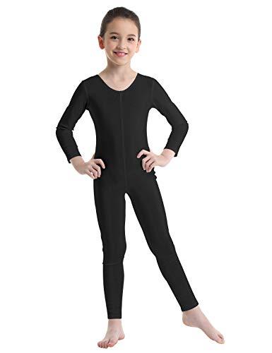 CHICTRY Mädchen Ballett Body Trikots Langarm Ballettanzug Turnanzug Overall Jumpsuit Sport Tanz Gymnastik Ballett Trikot Trainingsanzug Schwarz 128-140/8-10 Jahre