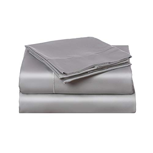 California Cotton Club, 600 Thread Count Bed Sheets Set, 100% Cotton, Hotel Quality Luxury Soft Fits Mattress Upto 17 inch Deep Pockets, 4 Piece Sheets and Pillowcases, (Queen Sheets, Cool Silver)