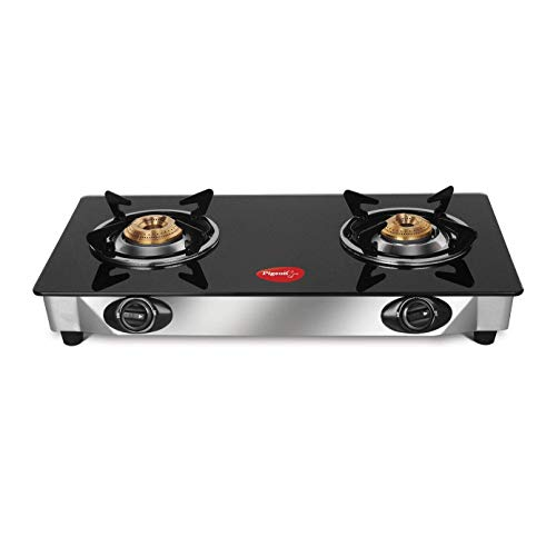 Pigeon by Stovekraft Favourite Glass Top 2 Burner Gas Stove, Manual Ignition (Black)