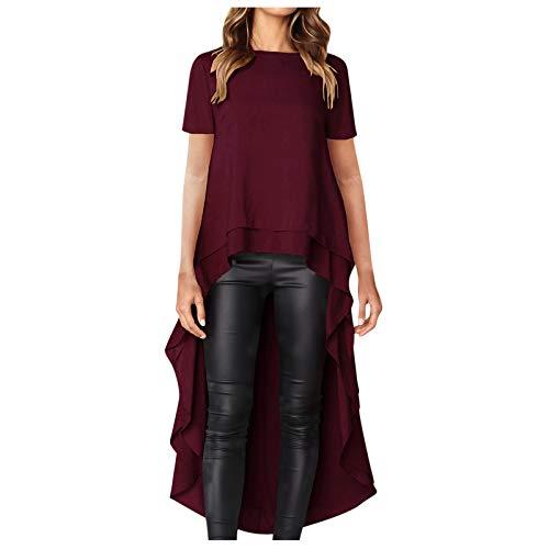 Winkey - Camiseta de manga corta para mujer con espalda larga, transpirable, talla grande burdeos S
