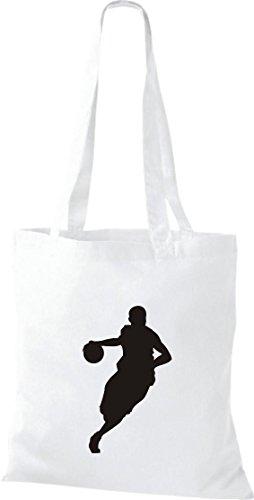 Stoffbeutel Basketball Basketballspieler BBL NBA Baumwolltasche, Beutel, , Farbe weiss