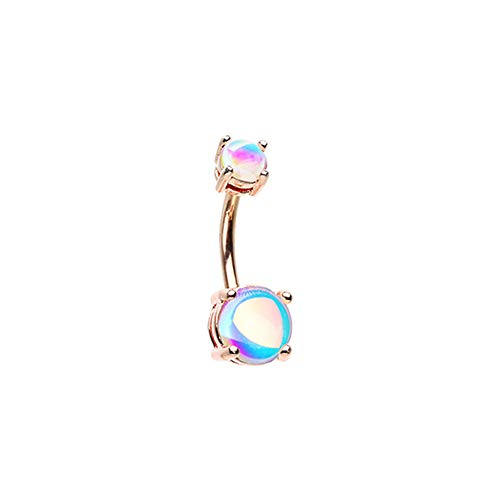 Pierced Owl Rose Gold Plated Double Synthetic Moonstone Prong Set Belly...