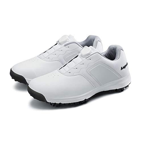CGBF-Atmungsaktiver Golfschuh für Herren mit Schnürsenkeln mit Drehknopf,wasserdichte rutschfeste Turnschuhe für Outdoor-Sportschuhe,Weiß,46 EU