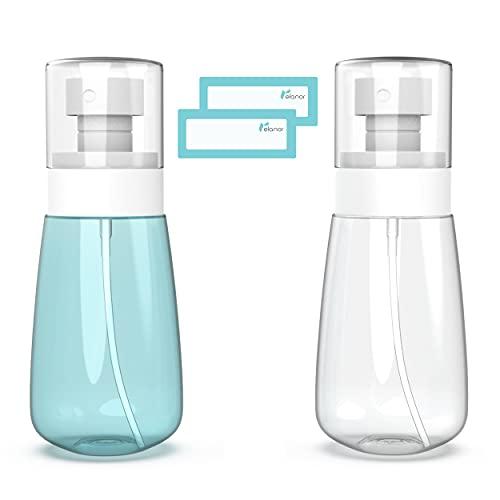 Relanor Pack 2 Small Spray Bottle Travel Size 2oz/60ml - Fine Mist Hair Sprayer - Refillable and Reusable Plastic Bottles for Essential Oils, Perfume, Suitable for Liquid