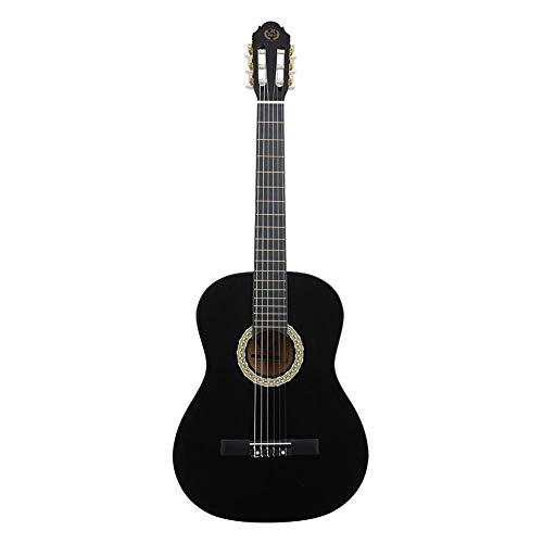 Guitarra clásica, guitarra acústica de madera de 39 pulgadas, color negro, tamaño completo, paquete de guitarra con bolsa de almacenamiento