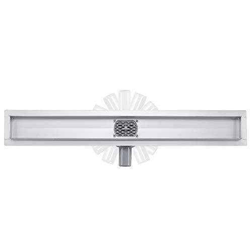 Duschrinne, doppelseitig, 360° Siphon mit Geruchsstop und Haarsieb, befliesbar, Ablaufrinne aus Edelstahl, Bodenablauf, für Badezimmer 50cm