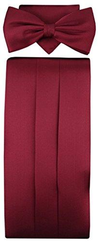TigerTie TigerTie Kummerbund Einstecktuch Fliege 100% Seide Farbe Bordeaux Rot - Schärpe Leibbinde