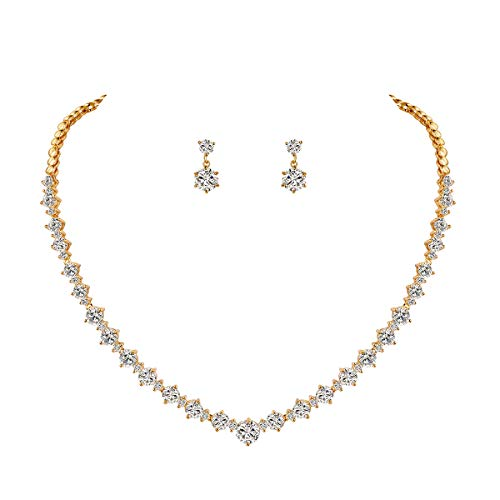 WeimanJewelry Silver/Gold Plated Women Cubic Zirconia Round Cut CZ Bridal Necklace and Drop Earring Set for Bride Wedding (Gold)