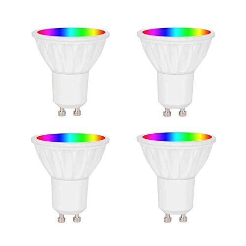 WiFi Smart Alexa GU10 LED-Glühbirne 5 W, dimmbares mehrfarbiges RGB + Warmweiß 2700K, kompatibel mit Alexa, Google Assistant, Abstrahlwinkel 38 Grad, 4er-Pack