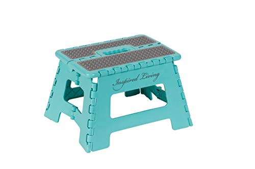 Inspired Living Folding Step Stool Heavy Duty 9quot High OCEAN BLUE