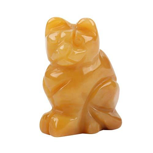Wal front 3,8 cm colorato Intagliato a Mano Lucky Cat Figurine da Collezione Statua in Pietra Naturale Ornamenti per la casa Ufficio scrivania Decorazione Topaz