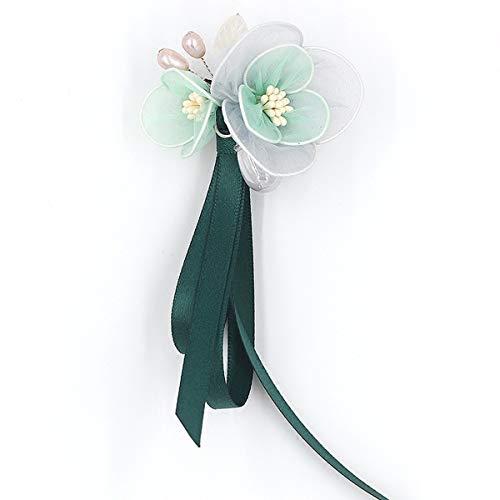 Mijn Droom Dag Elegante Bloemen Glanzende Mode Mooie Broche Pinnen Backs Parel Zijde Garen Bow-Knoop Lint Pin Voor Pin Jurk Accessoires