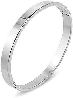 MEENAZ Brass Stainless Steel Kada Bracelet for Boys(White)
