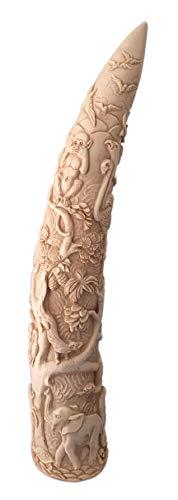 Colmillo de Elefante Figura - Estatua con exóticas Decoraciones coloniales y precoloniales - Reproducción de Resina Pintada a Mano - H 39 cm
