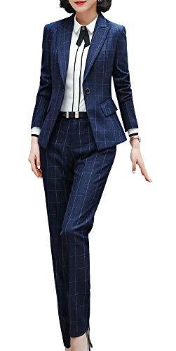 Dames pak twee delen basic geruit blazer & broek/rok combinaties pak