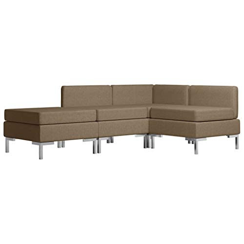vidaXL Sofagarnitur 4-TLG. Stoffsofa Couch Loungesofa Sofa Polstersofa Couchgarnitur Polstergarnitur Sitzmöbel Ecksofa Mittelsofa Fußhocker Stoff Braun