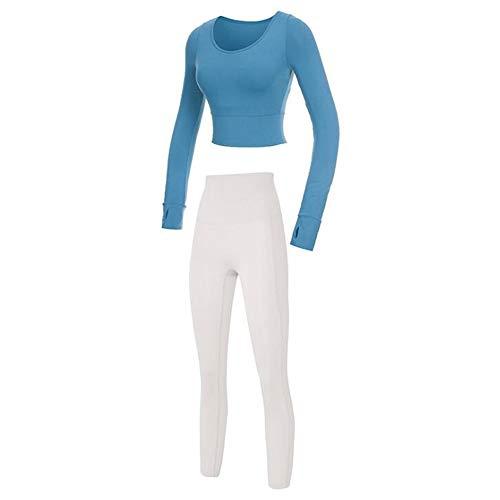 Rongjuyi - Traje de yoga de manga larga para mujer de otoño e invierno, manga larga para exteriores, ajustado, para pies, ropa de fitness (color: 02, tamaño: L)