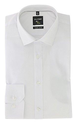 OLYMP Herrenhemd No 6 six, Super Slim, Urban Kent, Stretch Langarm, Teilungsnaht- Weiß, Gr. 39