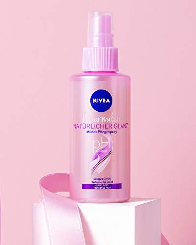 NIVEA Haarmilch Natürlicher Glanz Mildes Pflegespray (150 ml), Anti-Frizz-Spray mit Milch- & Seidenproteinen, Hitzeschutzspray für fließendes, geschmeidiges Haar