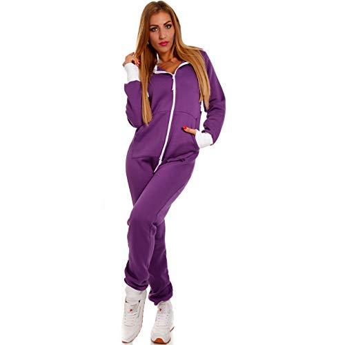 Crazy Age Basic Jumpsuits Ganzkörperanzug Einteiler One Piece Schlafanzug Overall Damen Jumpsuit Kuschelig und warm (M, Lila)
