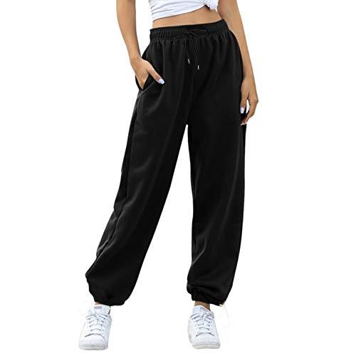 beifon Harem Pantalón Chandal Mujer Largo Pantalón Deportiva Mujer Pantalones Jogging con Cintura Alta Elástico Pantalón de Deporte Yoga Fitness Jogger Gimnasio Sweatpants Casuales Mujer (Negro, S)