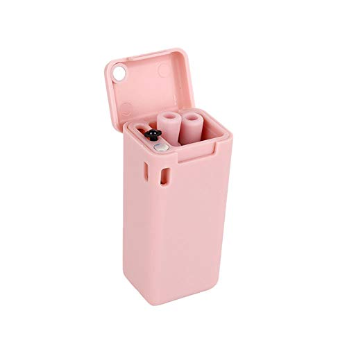 Local Makes A Comeback – opvouwbare herbruikbare rietjes van roestvrij staal, draagbaar, opvouwbaar, met harde koffer, roze