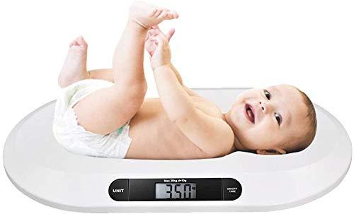 Bakaji - Báscula electrónica para niños recién nacidos, con pantalla digital LCD, báscula de peso para recién nacido, 20 kg/44, apagado automático y tara, color blanco