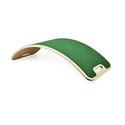 Perfect Arc Felt Tavola Curvy Tavola Waldorf Tavola Montessori Tavola Curva Balance Board oscillante Legno Naturale (Green)