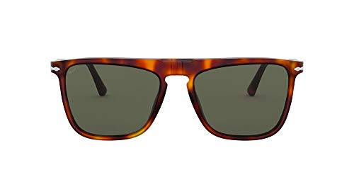 Persol PO3225S Rectangular Sunglasses, Havana/Green, 56 mm