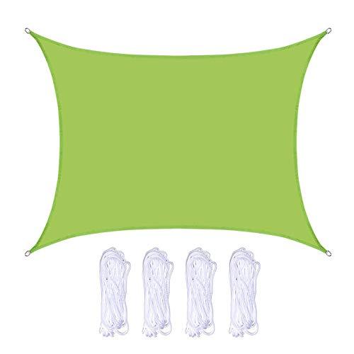 KAISUN Toldo Vela de Sombra Rectangular,Impermeable a Prueba de Viento Protección UV para Patio, Marquesinas y Toldos,Exteriores, Jardín (2 X 2 m,Verde)