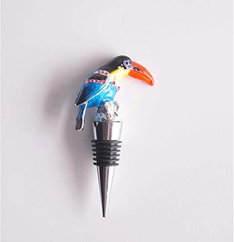 XIJIE Acero inoxidable de color diamante de grado superior tapón de vino forma loro pájaro vino tinto decoración corcho vino vino
