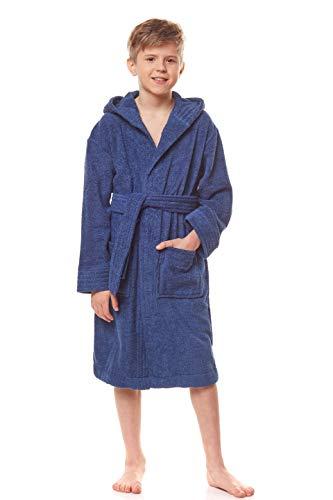L&L - 2105 Albornoz infantil con capucha para niños y niñas, de rizo, de manga larga con cinturón de cadera, 100% algodón marine 146