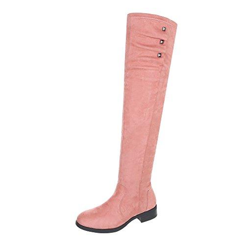 Ital-Design Overknees Damen-Schuhe Overknees Blockabsatz Blockabsatz Reißverschluss Stiefel Pink, Gr 38, 3498-