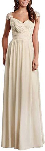 HUINI Abendkleider Damen Lang Hochzeitskleider Glitzer Ballkleider Spitzen Brautjungfernkleider Empire Kleider Champagne 52