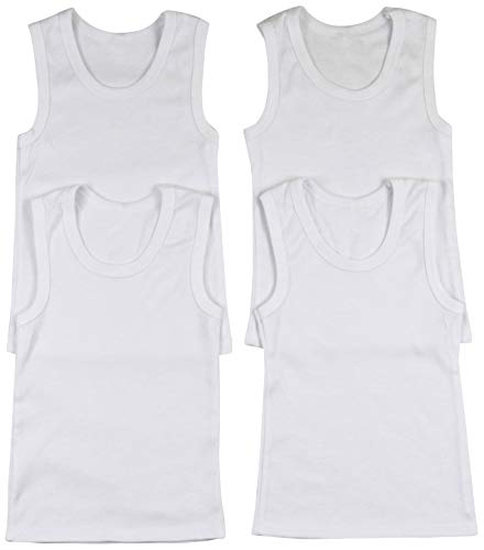 ToBeInStyle Boys' 4 Pack Double Needle Hem Tank Tops - White - Size 2