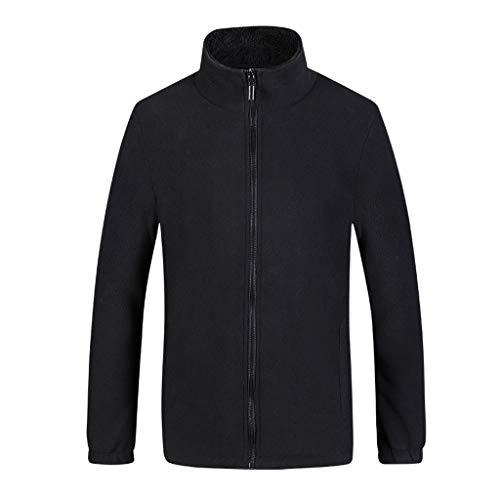 MAYOGO Herren Jacke Fleece Trainingsjacke Strickjacke Full Zip Sweatjacke Männer Basic Fleecejacke Sportjacke Sport Freizeit Reissverschluss (Schwarz, XL)