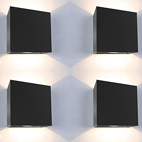Aplique pared exterior 4 uds 12W impermeable IP65 luz blanca calida 3000K aplique exterior lampara exterior pared apliques pared exterior luz exterior pared