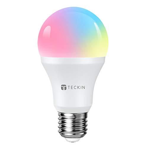 Ampoule LED Intelligente WiFi E27 à intensité variable et multicolore, Compatible avec, Google Home,TECKIN RGB Ampoule A19 60W 7,5W,Pas de Hub requis,1 pack