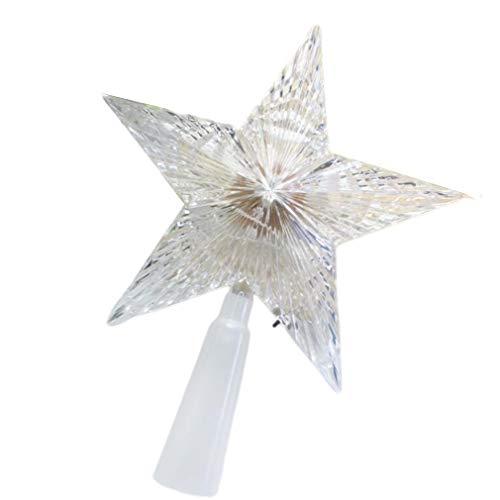 YLWL Weihnachtsstern Lichter Weihnachtsbaum Topper Star 3D LED Top Lichter Auto Flash weiß 14CM