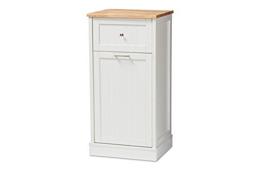 Baxton Studio Monica Kitchen Cabinet, White/Oak Brown