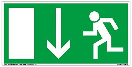 Schild Notausgang | extra langnachleuchtend | PVC selbstklebend 297x148mm | gemäß BGV 8A | DIN 67510 | Notausgangsschild Pfeil nach unten | Fluchtwegschild Rettungsweg | Dreifke® extra 160