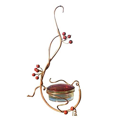 Cranberry Metal Bird Feeder Water Holder Container Garden Decor